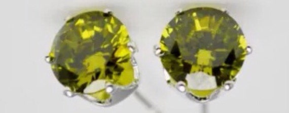 Peridot Olive Green Crystal Stud Earrings Large size