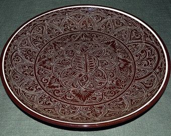 """Lyagan dishes (ceramic dishes with brown glazes and needle-painted """"suzane"""")"""
