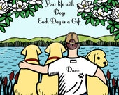 Labrador Dad and Three Labs Print, Custom Print, Coat Color Options, Personalized -- Labrador Dad Lake Print with quote 8 x 10
