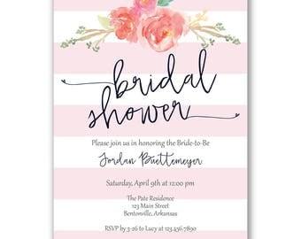 Pink Stripes Bridal Shower Invitation