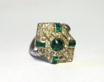 Art Deco Rhinestone Ring Vintage Emerald Paste Green Pavé Set Silver Plate Adjustable Size