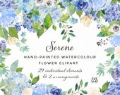 Watercolor Floral Clipart Set - Serene - Peony, Hydrangea, Rose
