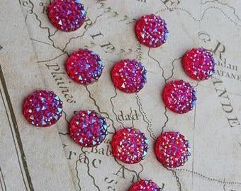 Pink Rhinestones, Rhinestone Flatbacks, Faux Druzy, Pink Druzy, 12mm Rhinestone, Pink Rhinestone Cabochon, Sparkly Flatbacks,
