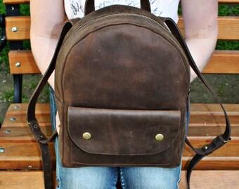 Woman Leather backpack, leather rucksack,  leather backpack vintage, leather backpack purse, school backpack, leather bag, shoulder bag