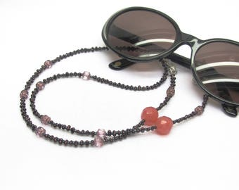 Cord for glasses fancy pink and purple beads, beaded glasses chain, eyeglass clip, attached sunglasses, glasses cord