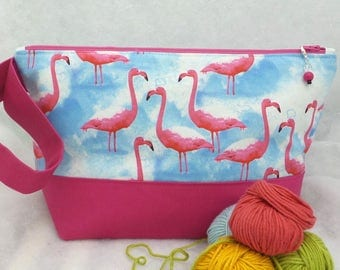 Two Compartment Project Bag,Knitting Project Bag, Flamingo Project Bag, Knitting Project Bag, Sock Project Bag, Embroidery Project Bag