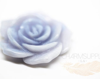 Blue Lace Agate Carved Flower Pendant SPP01-004