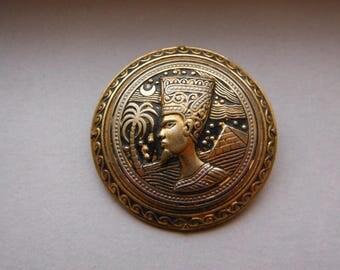 Vintage Egyptian Pharoah Damascene Brooch