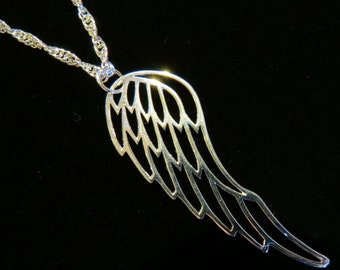 "Large Open Angel Wing Necklace 16"" Twisted Rope Silver Plate Angels Wings to Fly NS112-16"" / 24"""