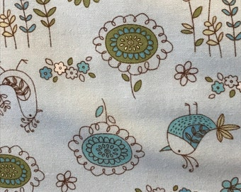 Robert Kaufman, Chick-a-Dee, Chick-a-Doo,Light blue background, birds, flowers, trees