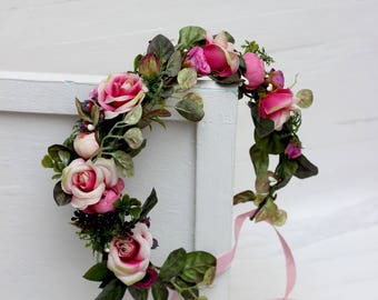 Hot pink greenery floral hair wreath Wedding flower crown Flower headband Woodland Rose Flower girl Bridesmaid crown Maternity photo props