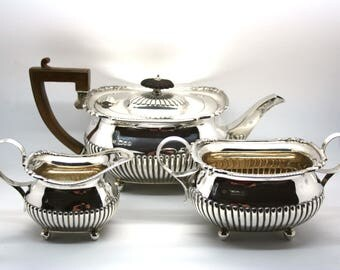 Victorian English Solid Silver Tea Set