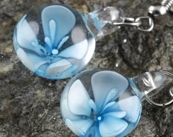 3.7cm Teal Flower Earrings - Glass Earrings, Teal Earrings, Teal Glass Jewelry, Flower Jewelry, Glass Flower, Chakra Jewelry E0196
