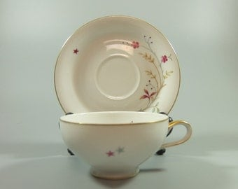 "Eschenbach Bavaria ""Clarice"" by Baronet, Cup and Saucer, White Porcelain with Red Floweres and Star, Germany"