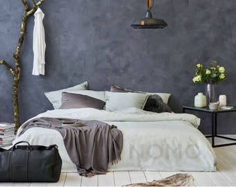 Lace DUVET COVER SET, in 100% Egyptian cotton sateen, pillowcase completely in print, back over the duvet cover is off white.