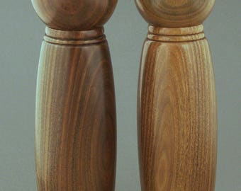 "10"" Lignum Vitae Wood Pepper and Salt Mill Set"