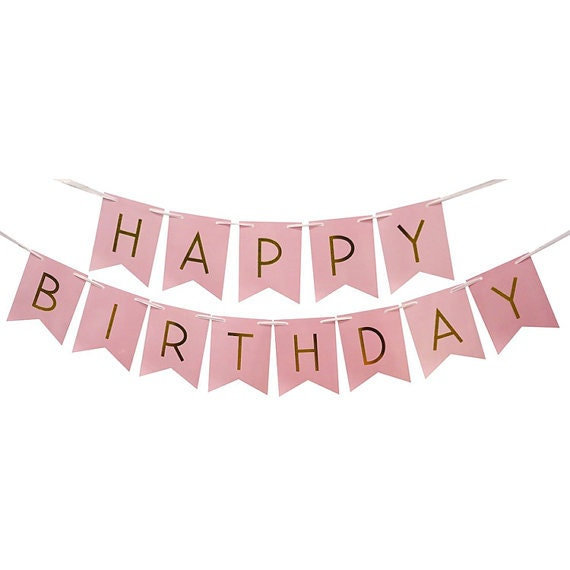 Happy Birthday Banner Pastel Pink Colour Gold Banner Girl