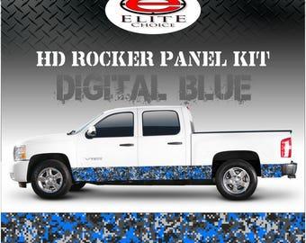 "Digital Blue Camo Rocker Panel Graphic Decal Wrap Truck SUV - 12"" x 24FT"