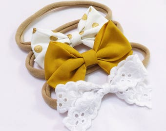 Mustard Trio bow headband set