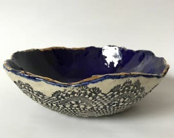Sapphire , Gold and Lace Bowl