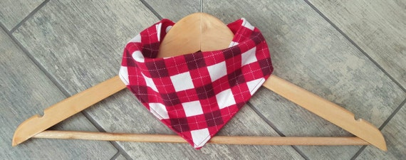 Handmade bandana drool bib - LIMITED EDITION - plaid christmas print cotton flannel with red cotton flannel - baby accessories