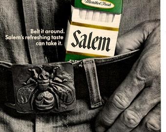 1974 Salem Cigarettes vintage magazine ad Belt it around wall decor (1702)
