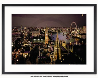 The London Eye At Night Sepia Poster