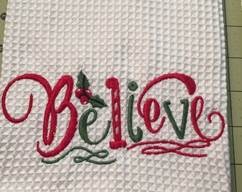 """Custom Towel """"Believe"""" Waffle Weave Towel, Christmas Towel-Gift for Mom-Home Decor-Kitchen-Gift for Boss Woman-Farmhouse Decor-Gift"""
