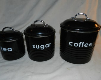 3 Metal Canisters - Mid Century Modern Retro style Black & White Kitchen Canister Set - Coffee, Tea + sugar - Mid Mod kitchen Decor    D2-16