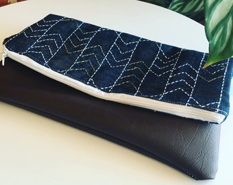 Sashiko embroidered denim/denim with faux leather base clutch women's clutch denim clutch made and designed by Waffle and Weave