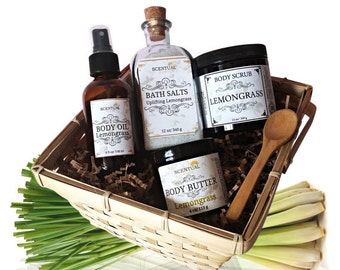 ORGANIC LEMONGRASS GIFT Basket, Organic Spa Set, Beauty Gift Set, Uplifting Bath & Body Gift, Holiday Gift Basket, Gifts for Her