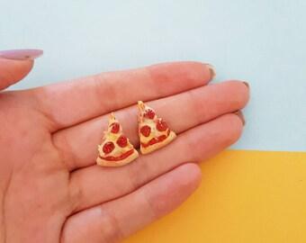 Pizza studs earrings pepperoni miniature food jewellery