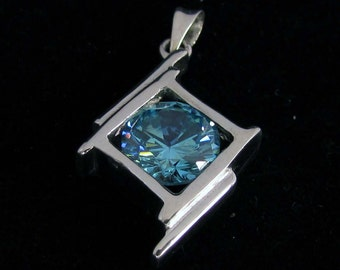 abstract Sterling silver 925 pendant with blue CZ