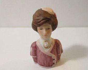 Avon American Fashion Thimble Circa 1900, Porcelain Half Doll Lady Head Thimble, Edwardian Fashion