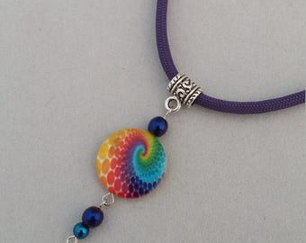 Paracord necklace-hippie necklace-rainbow paracord necklace-rainbow hippie necklace-hippie jewelry-hippie rainbow necklace-girlfriend gift