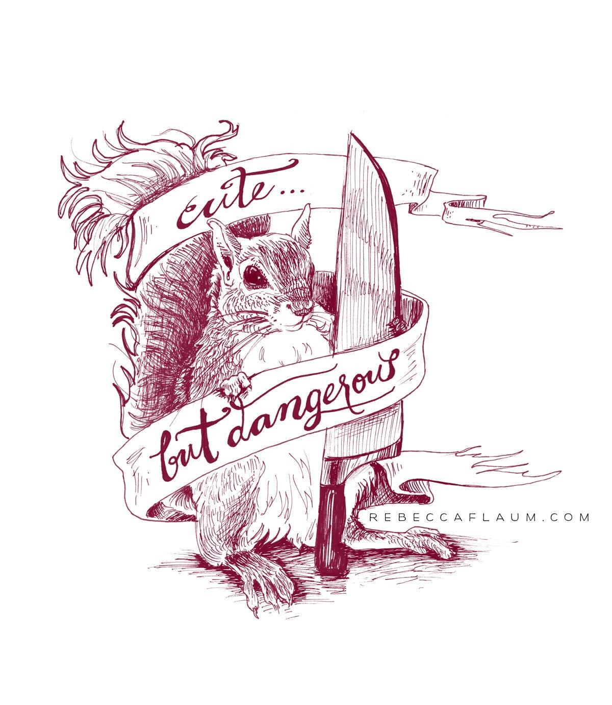 Dangerous Squirrel Print Pigment Print Archival 11x14