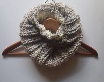 Infinity Scarf, Winter Scarf, Warm Scarf, Women's Scarf, Crocheted Scarf, Beige Ribbed Infinity Scarf, Wool-Blend Scarf
