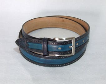 NEW COLLECTION-classic two-tone men's genuine leather Belt. French model. Height 3.5 cm. Handcrafted, hand painted.