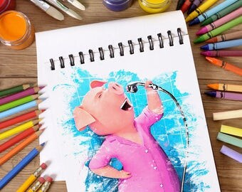 SING movie Rosita, Rosita a pig, watercolor poster, Rosita, Rosita print, SING Rosita poster, Pig Rosita, kids room party decorations, T-033