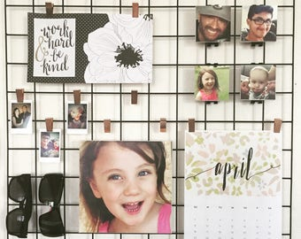 Wall Grid Accessories (Memo Board NOT INCLUDED) | Memo Board Decor | Photo Canvases with Hooks | Instant Style Pictures