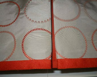 Custom made Board mounted Valance Christian Fischbacher for Stark geometric embroidered fabric pleats orange tan