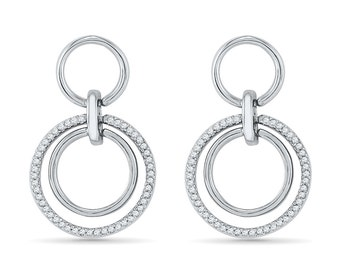 1/6 CT. T.W. Diamond Double Circle Earrings In Sterling Silver Or Eternity White Gold Earrings With Diamond Accent