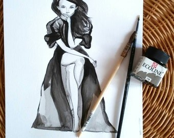 Fashion original illustration / unique art piece / inspired From Julianne Moore / mode / Black dress / sexy robe noire / movie poster