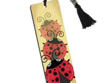 Cute Ladybugs Printed Bookmark With Tassel