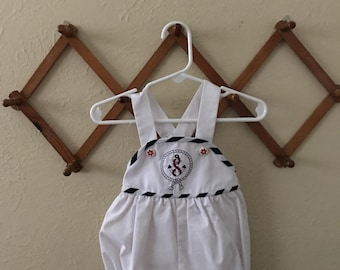 CLEARANCE Toddler White Naval Romper