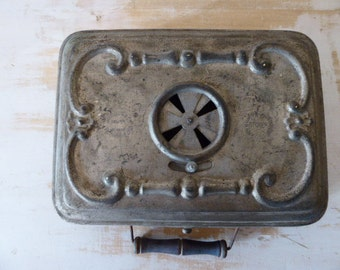 Vintage French Portable Heater, Chaufferette, Girondon and Montet, Lyon, Footwarmer 0317042-177