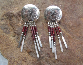 Silver Gecko and Red Coral Dangle Earrings