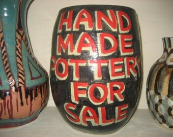 """9 1/2"""" Tall Hand Made Black/Red/Light Blue Glaze Ceramic/Pottery/Cone 5 Pot with Lettering"""