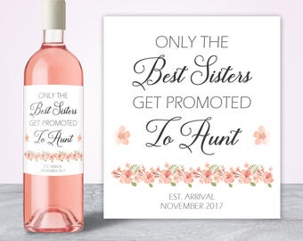 Pregnancy Reveal to Family, Promoted to Aunt to be Gift, Pregnancy Announcement Wine Label, Baby Announcement Ideas Personalized Wine Labels