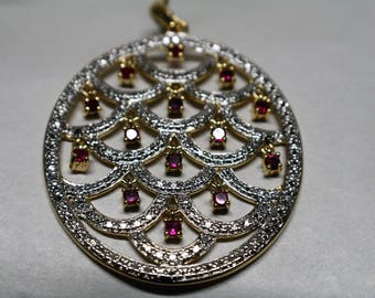 Large Oval Pendant Gold Plated Sterling Silver With Rubies Vintage Gifts For Her Movement Jewelry 925 Statement Piece Gift